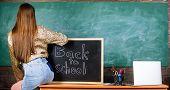 Girl Denim Skirt Breaking School Clothing Rules. Back And Buttocks Student Near Chalkboard. School D poster