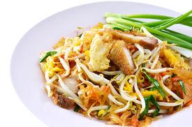 stock photo of thai food  - favorite Thai cuisne Thai food Pad thai Stir fry noodles with crispy fork  - JPG