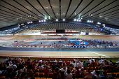 MOSCOW - AUGUST 19: Cycle race track at stadium before UCI juniors track world championships on Augu