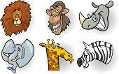 pic of chimp  - Cartoon Illustration of Different Funny Wild Animals Heads Set - JPG
