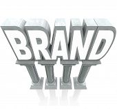The word Brand standing high on marble columns, elevated as the top product or company compared to o