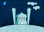 stock photo of kaba  - Eid Mubarak illustration with shiny moon and Mosque and Masjid - JPG