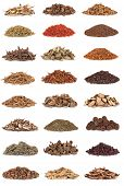 Large collection of chinese herbs used in alternative medicine isolated over white background.