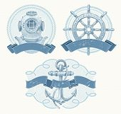 stock photo of ship steering wheel  - Nautical vector emblems with hand drawn elements  - JPG