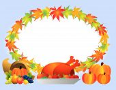 picture of turkey dinner  - Leaves frame with cornucopia  - JPG
