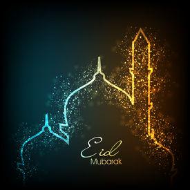 stock photo of ramazan mubarak  - Beautiful greeting card for Eid Mubarak festival with shiny Mosque and Masjid image - JPG