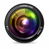 picture of optical  - illustration of colorful camera lens on white background - JPG