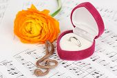 Treble clef, flower and box holding wedding ring on musical background