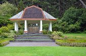 foto of gazebo  - Large white gazebo in green park in summer - JPG