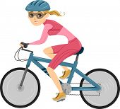 picture of triathlon  - Illustration of a Girl riding a Bicycle for Triathlon - JPG