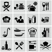 stock photo of waiter  - Cooking icons - JPG