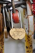 padlock shape hearts. Symbol of love.