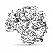 Black and white hand drawn ornament. Vector  illustration