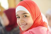 pic of muslimah  - Muslim and Arabic girls learning together in group - JPG