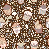 Sweet seamless pattern made of tasty cupcakes. Seamless pattern can be used for wallpapers, pattern