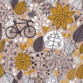 Concept healthy background with bicycle and flowers. Seamless pattern can be used for wallpapers, pa