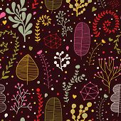 Bright leafs on dark wallpaper. Seamless pattern can be used for wallpapers, pattern fills, web page