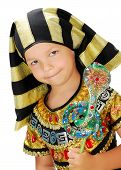 picture of scepter  - Boy dressed as an Egyptian pharaoh smiling and holding a scepter in the form of a snake - JPG