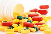 stock photo of prophylactic  - Composition with variety of drug pills and dietary supplements - JPG