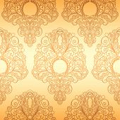 stock photo of dessin  - Seamless Classic Wallpaper Ornament Pattern editable vector illustration - JPG