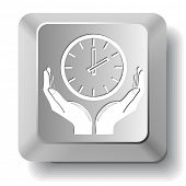 clock in hands. Computer key. Raster illustration.