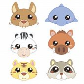 pic of cute tiger  - six cute cartoon animal head icons with white background - JPG