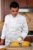 image of beef wellington  - Chef making beef Wellington - JPG