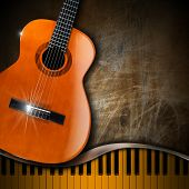 picture of bluegrass  - Acoustic brown guitar and piano against a grunge background - JPG
