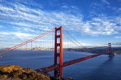 foto of suspension  - famous Golden Gate Bridge in San Francisco California USA - JPG