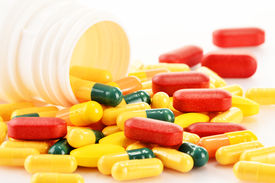 foto of prophylactic  - Composition with variety of drug pills and dietary supplements - JPG