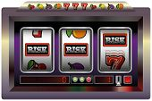stock photo of poker machine  - Illustration of a slot machine with three reels - JPG