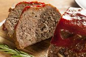 foto of meatloaf  - Homemade Ground Beef Meatloaf with Ketchup and Spices
