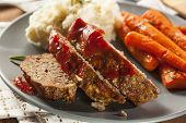 picture of ground-beef  - Homemade Ground Beef Meatloaf with Ketchup and Spices - JPG