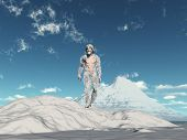 stock photo of bigfoot  - Yeti walking on a frozen landscape with mountains in the background - JPG