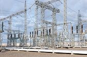 image of substation  - High voltage electric power substation in autumn day - JPG
