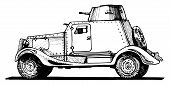foto of armored car  - Vector drawing of armored car stylized as engraving - JPG