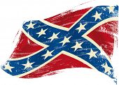 Confederate flag grunge.A confederate flag in the wind with a texture