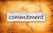 stock photo of promises  - Commitment title on piece of crumpled old paper - JPG