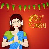 stock photo of pongal  - Beautiful girl in traditional outfits saree folded hands representing India culture greeting namaste on occasion of harvest festival celebration in South India - JPG