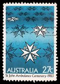 AUSTRALIA - CIRCA 1983: A stamp printed in Australia shows st john ambulance centenary, circa 1983