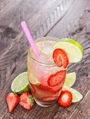 Glass With Strawberry Caipirinha