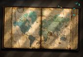 pic of 1700s  - Old Tome with World Map and tiny moths - JPG