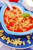 picture of heart shape  - tomato soup with pasta in the shape of letters for child - JPG