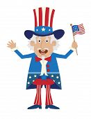 picture of uncle  - Cartoon illustration of uncle Sam holding a flag - JPG