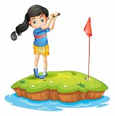 stock photo of ladies golf  - Illustration of a young lady golfing on a white background - JPG