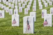 stock photo of veterans  - veterans cemetery memorial celebration with American Flag - JPG