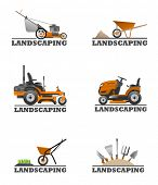image of land development  - An illustration of Landscaping equipment and tools - JPG