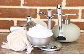 stock photo of personal hygiene  - Male luxury shaving kit on shelf - JPG