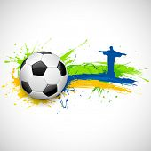 picture of brasilia  - illustration of soccer ball and Christ the Redeemer in Football background - JPG