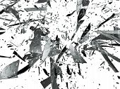 pic of deformed  - Sharp pieces of smashed glass isolated on white - JPG
